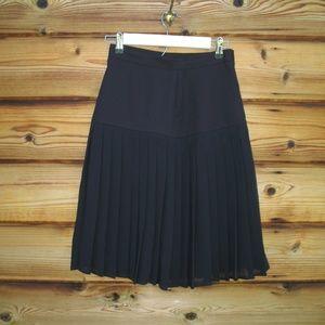 Vintage 90s  Black High Waist Pleated Skirt